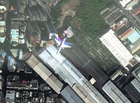 plane on the satellite maps