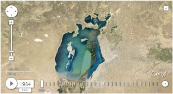 Аральськое море, снимок со спутника 1984 год